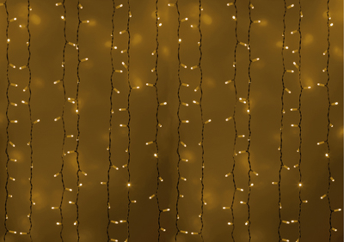 Гирлянда Neon-Night Светодиодный Дождь, постоянное свечение, цвет: белый, желтый, 2 х 1,5 м235-111Гирлянда Светодиодный Дождь представляет собой гибкий горизонтальный шнур-шину (2м), к которому через определенные промежутки крепятся вертикальные нити (20 шт.) со светодиодными лампами, которые отличаются от «Бахромы» тем, что имеют одинаковую, достаточно значительную длину, часто превышающую протяженность шины. На концах каждой шины есть разъем и штепсель, которые предназначены для последовательного соединения нескольких световых дождей в большой занавес ПЛЕЙ-ЛАЙТ. Используя занавес, можно не только создавать красивые световые занавесы или оформлять различные плоскости, например, фасады домов, окна и т.д., но и украшать объемные объекты. Используя занавес, можно не только создавать красивые световые занавесы или оформлять различные плоскости, например, фасады домов, окна и т.д., но и украшать объемные объекты. Гирлянду, работающую в непрерывном свечении, называют фиксинг, а использующую режим светодинамики – чейзинг. Светодинамические эффекты становятся доступными только при подключении гирлянды к сети через специальный контроллер.Сегодня в гирляндах источником света служат светодиоды, которые пришли на смену применявшимся ранее лампам накаливания. С полупроводниковыми источниками гирлянда стала более надежной, потребляет меньше энергии, обрела более насыщенное сияние. Данная гирлянда имеет желтый цвет свечения светодиодов.