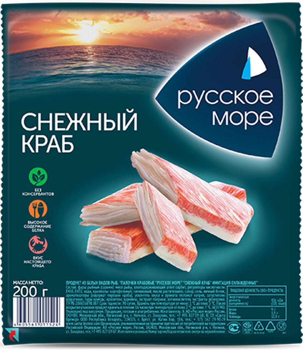 Русское Море Крабовые палочки Снежный краб, охлажденные, 200 гМСО-016316Сурими-продукт из филе белых океанических рыб. Упаковано под вакуумом.