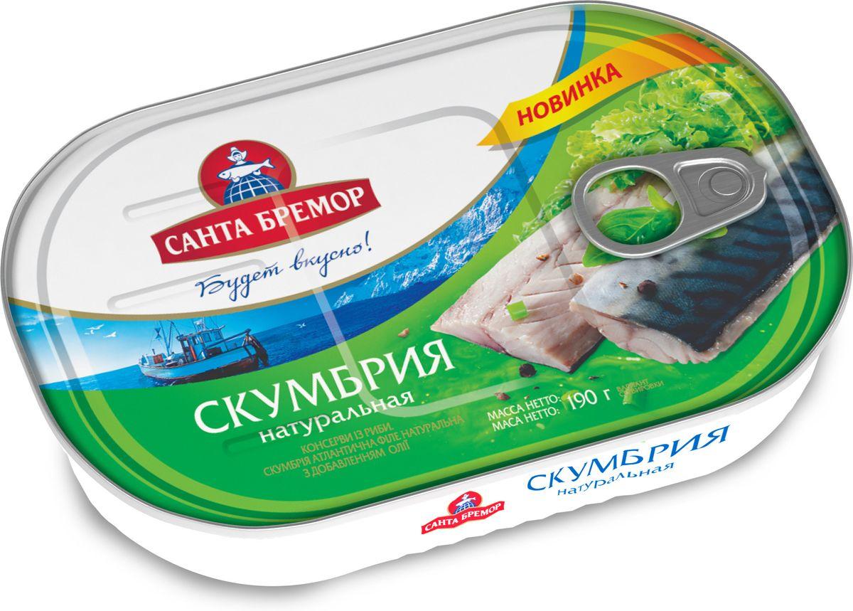 Санта Бремор Скумбрия атлантическая, филе натуральное с добавлением масла, 190 гМС0-013591Скумбрия атлантическая филе натуральная с добавлением масла. Продукт стерилизованный.