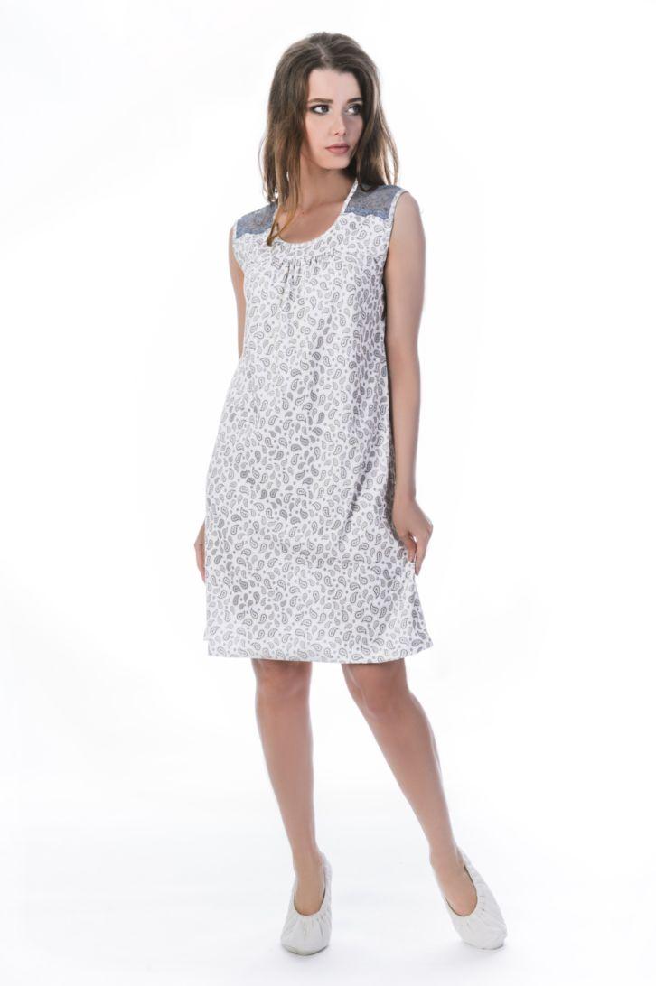 Ночная рубашка женская Melado Шанти, цвет: бежевый. MK2844/01. Размер 46MK2844/01Женственная сорочка от Melado без рукавов выполнена из мягкого хлопка. На плечах и по спинке украшена широким мягким кружевом.