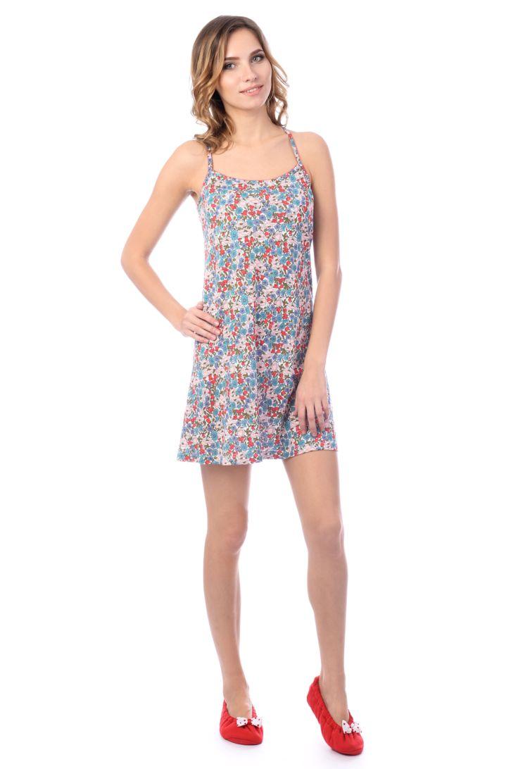 Ночная рубашка женская Melado Эмилия, цвет: голубой. MH2720/01. Размер 50MH2720/01Легкая и приятная ночная сорочка от Melado на изящных бретелях выполнена из хлопкового трикотажа с добавлением модала.