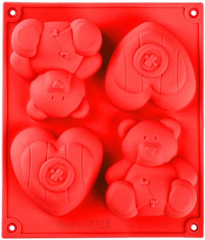 Форма для выпечки Доляна Уют, цвет: красный, 17 х 15 см, 4 ячейки811945_красныйФорма для выпечки Доляна Уют, цвет: красный, 17 х 15 см, 4 ячейки