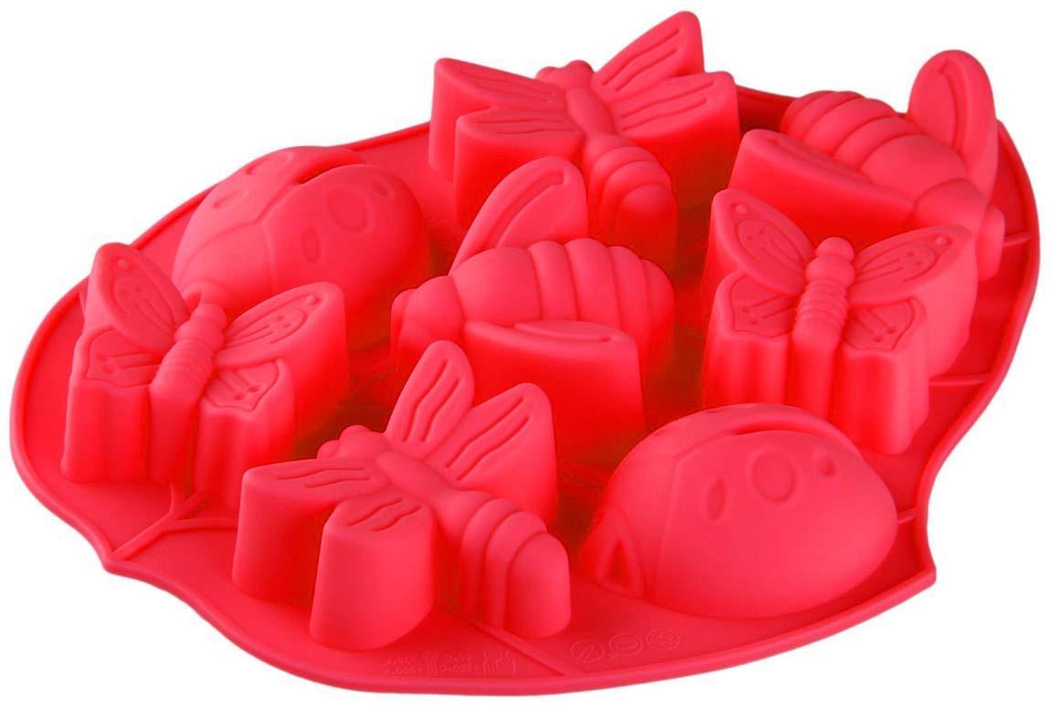 Форма для выпечки Доляна Жучки, цвет: красный, 27 х 21 х 2,5 см, 8 ячеек пантенол [panthenol 5