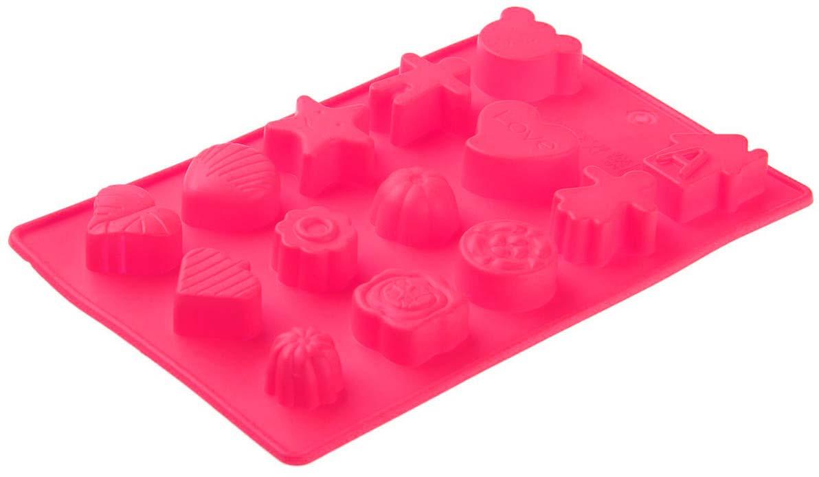 "Форма для льда и шоколада Доляна ""Ассорти"", цвет: фуксия, 15 ячеек, 21 х 12 х 1,5 см"