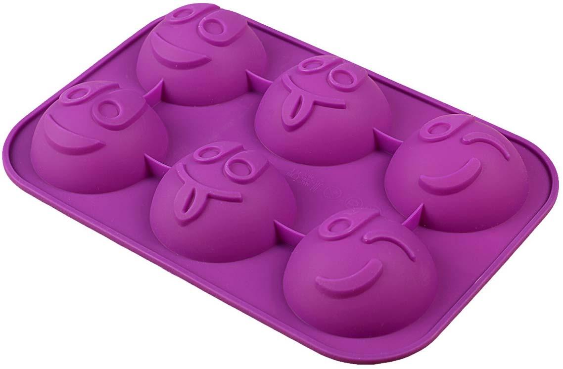 Форма для выпечки Доляна Смайлики, цвет: фтолетовый, 18 х 27 х 3 см, 6 ячеек858129_фиолетовыйФорма для выпечки Доляна Смайлики, цвет: фтолетовый, 18 х 27 х 3 см, 6 ячеек