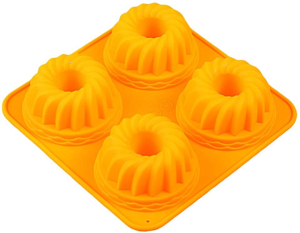 Форма для выпечки Доляна Бублик, цвет: оранжевый, 18 х 18 х 3,8 см, 4 ячейки123160_оранжевыйФорма для выпечки Доляна Бублик, цвет: оранжевый, 18 х 18 х 3,8 см, 4 ячейки
