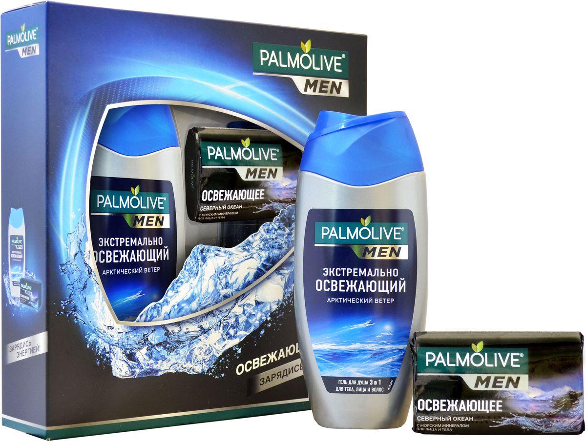Подарочный набор для мужчин Palmolive Men Освежающий (Гель для душа Palmolive Men Экстремально Освежающий Арктический ветер 3 в 1 (для тела, лица и волос), 250 мл; Туалетное мыло Palmolive Men Северный Океан (Освежающее), 90 г)