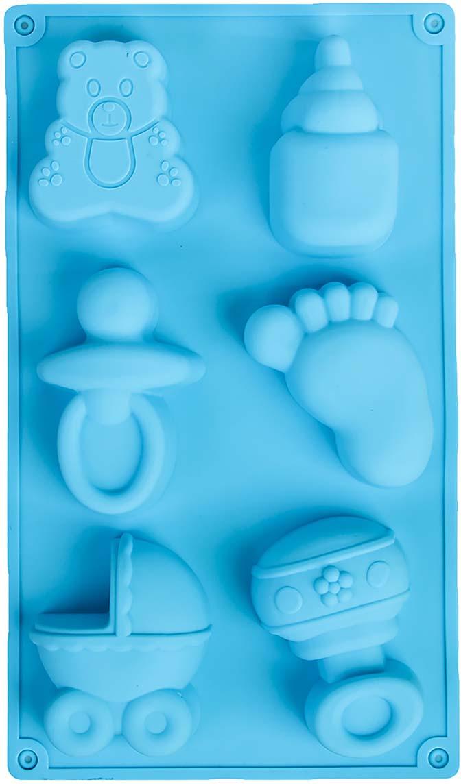 """Форма для выпечки Доляна """"Дети"""", цвет: голубой, 28,5 х 16,5 х 3,5 см, 6 ячеек   Как выбрать форму для выпечки – статья на OZON Гид."""