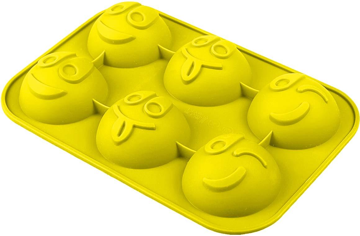 Форма для выпечки Доляна Смайлики, цвет: желтый, 18 х 27 х 3 см, 6 ячеек858129-желтыйФорма Доляна Смайлики выполнена из силикона, благодаря этому выпечкувынимать легко и просто. Материал устойчив к фруктовым кислотам, может бытьиспользован в духовках и микроволновых печах. Перед первым применениемпромойте предмет тёплой водой. В процессе приготовления используйте кухонный инструмент из дерева,пластика или силикона. Перед извлечением блюда из силиконовой формы дайте ему немного остыть,осторожно отогните края предмета. Готовьте с удовольствием!