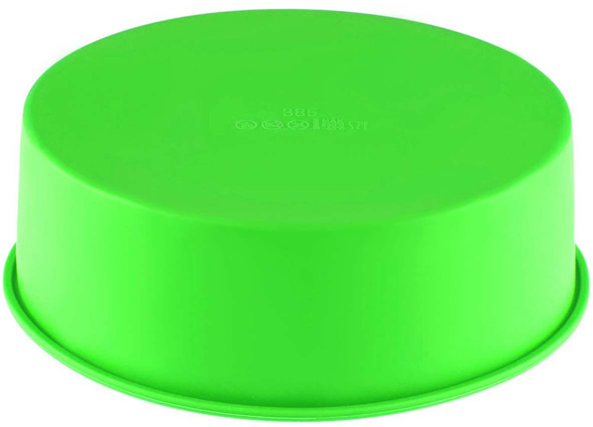 Форма для выпечки Доляна Круг, силиконовая, цвет: салатовый, 17,5 см форма для выпечки calve силиконовая цвет салатовый диаметр 30 см