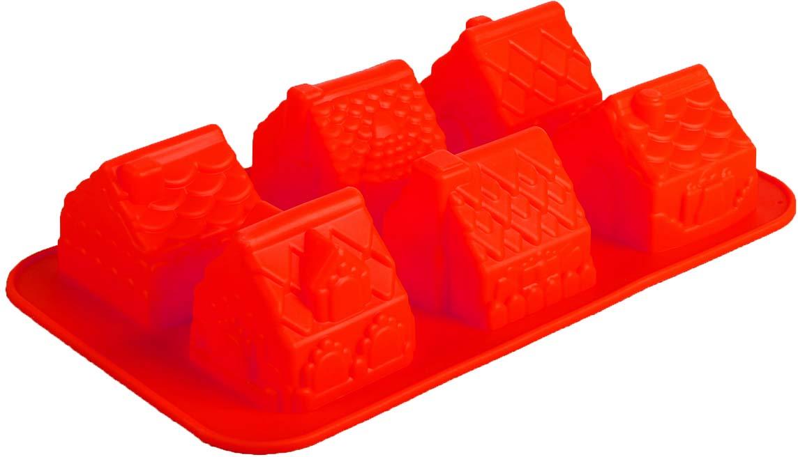 Форма для выпечки Доляна Домики, цвет: красный, 29 х 17 см, 6 ячеек114052-красныйФорма для выпечки Доляна Домики, цвет: красный, 29 х 17 см, 6 ячеек