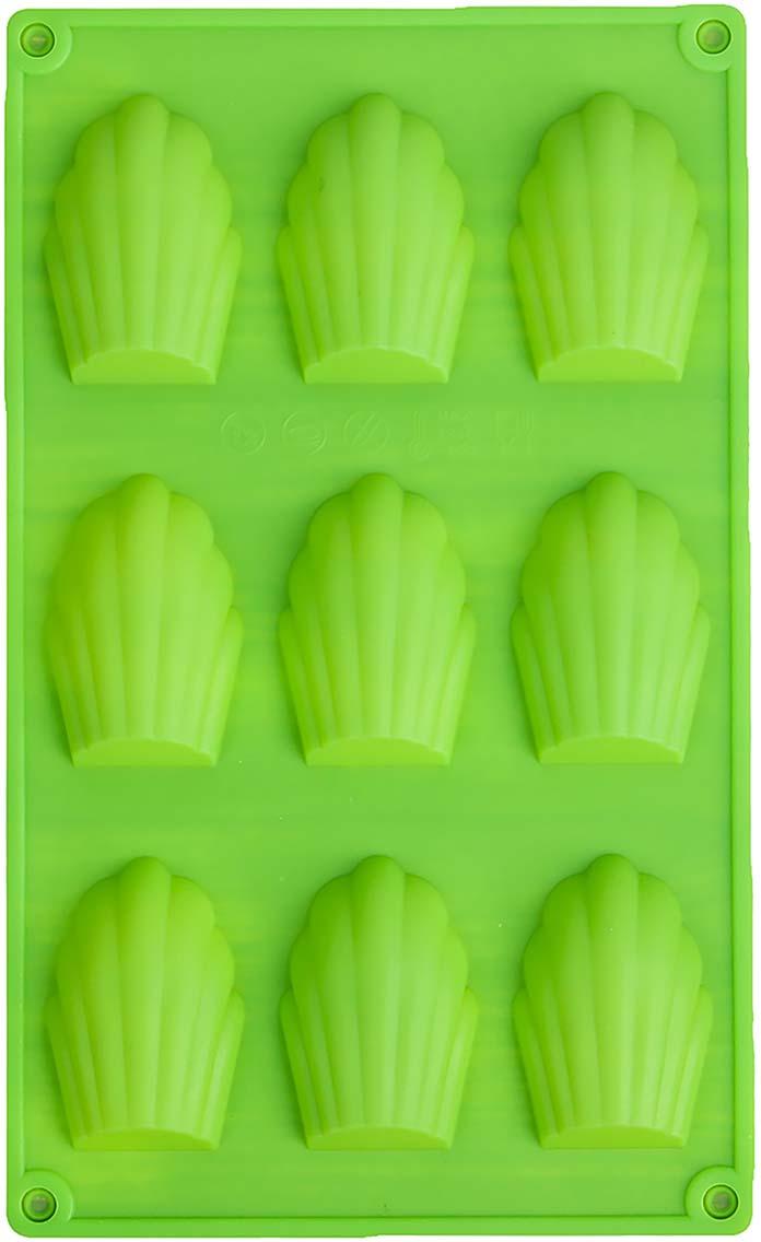 Форма для выпечки Доляна Ракушки, цвет: салатовый, 29,5 х 17 х 2 см, 9 ячеек1687518_салатовыйФорма для выпечки Доляна Ракушки, цвет: салатовый, 29,5 х 17 х 2 см, 9 ячеек