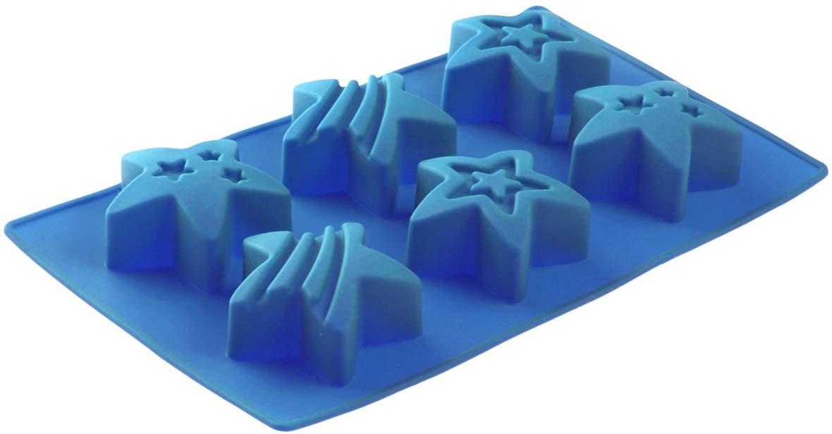 Форма для выпечки Доляна Яркие звезды, цвет: голубой, 29 х 17,5 х 2,5 см, 6 ячеек1057183_голубойФорма Доляна Яркие звезды выполнена из силикона, благодаря этому выпечку вынимать легко и просто. Материал устойчив к фруктовым кислотам, может быть использован в духовках и микроволновых печах. Перед первым применением промойте предмет тёплой водой.В процессе приготовления используйте кухонный инструмент из дерева, пластика или силикона.Перед извлечением блюда из силиконовой формы дайте ему немного остыть, осторожно отогните края предмета.Готовьте с удовольствием!
