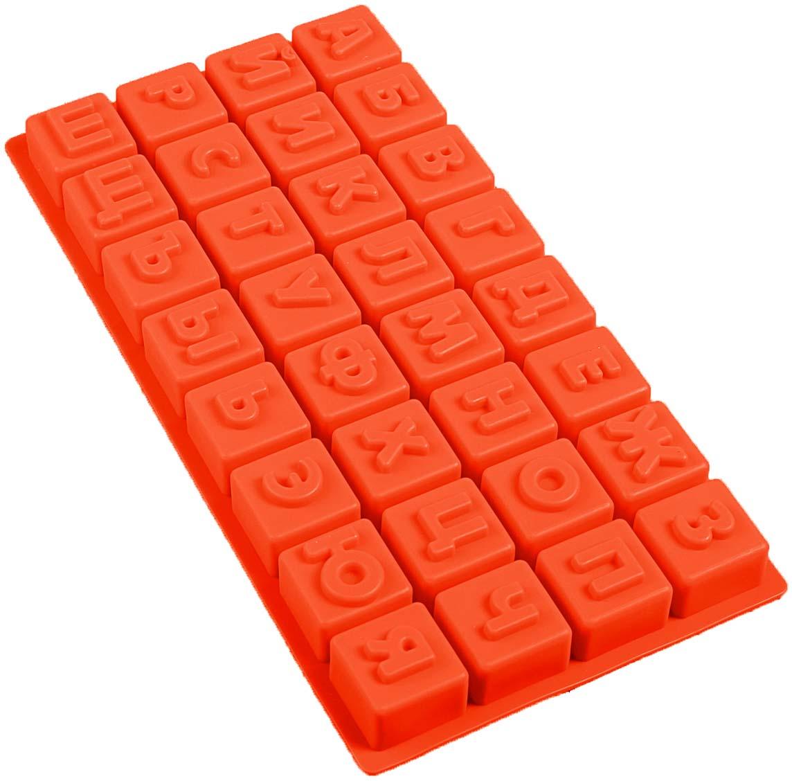 Форма для выпечки Доляна Алфавит, цвет: оранжевый, 35 х 18 х 3 см, 32 ячейки123155_оранжевыйФорма для выпечки Доляна Алфавит, цвет: оранжевый, 35 х 18 х 3 см, 32 ячейки