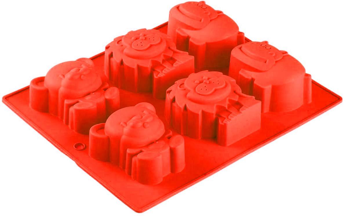 Форма для выпечки Доляна В мире животных, цвет: красный, 24 х 20 см, 6 ячеек762782_красныйФорма для выпечки Доляна В мире животных, цвет: красный, 24 х 20 см, 6 ячеек