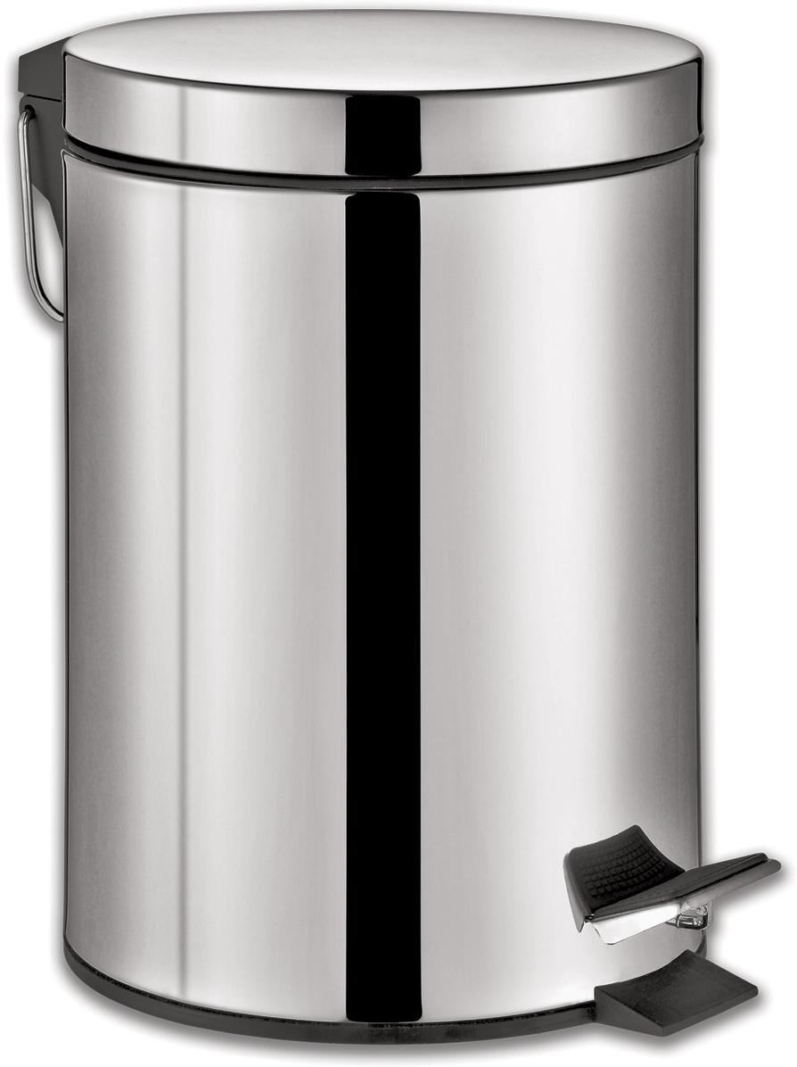 Ведро-контейнер для мусора Лайма Classic,  педалью, цвет: серебристый, 12
