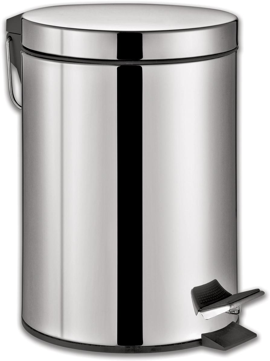 Ведро-контейнер для мусора Лайма Classic,  педалью, цвет: серебристый, 20