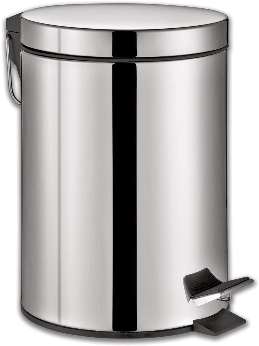 Ведро-контейнер для мусора Лайма Classic,  педалью, цвет: серебристый, 30