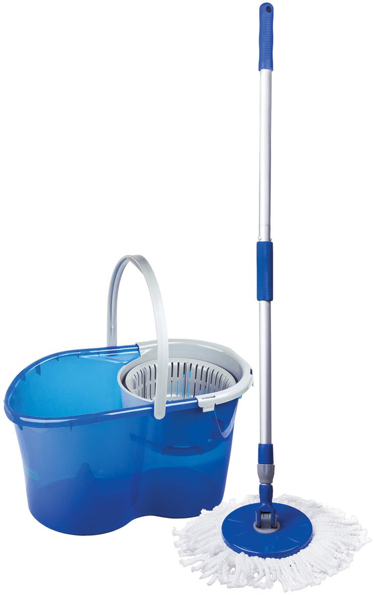 Набор для уборки Лайма, цвет: синий, 4 предмета55037Набор для уборки Лайма предназначен для проведения влажной уборки. В набор входят: ведро с системой отжима и швабра с круглой насадкой из микрофибры, запасная насадка. Отжим осуществляется нажатием ручки по направлению вниз.