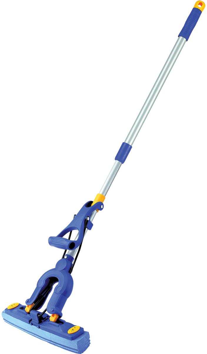 Швабра-бабочка складывающаяся Лайма, с насадкой, с телескопической ручкой, цвет: голубой. 601467 швабра loks super cleaning с насадкой для отжима цвет розовый l10 2757 11