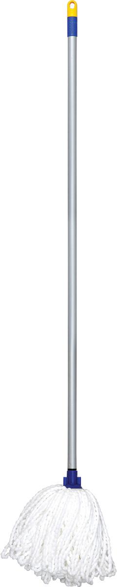 Швабра Лайма, с насадкой Моп, ворс 24 см, цвет: белый, 120 см швабра loks super cleaning с насадкой для отжима цвет розовый l10 2757 11