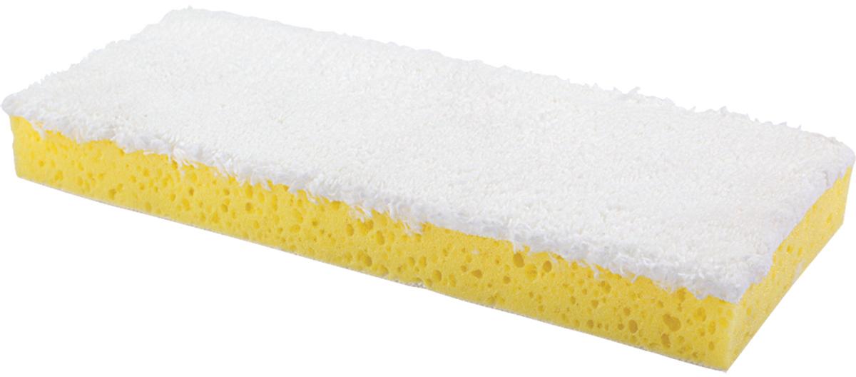 Насадка для швабры-бабочки Лайма, на липучке, цвет: желтый, 26 х 10 см601486Двухслойная насадка ТМ Лайма предназначена для проведения влажной уборки. Используется в комплекте со шваброй, к которой она крепится с помощью липучки. Верхний слой - спонж - отлично моет, нижний - микрофибра - мягко полирует.