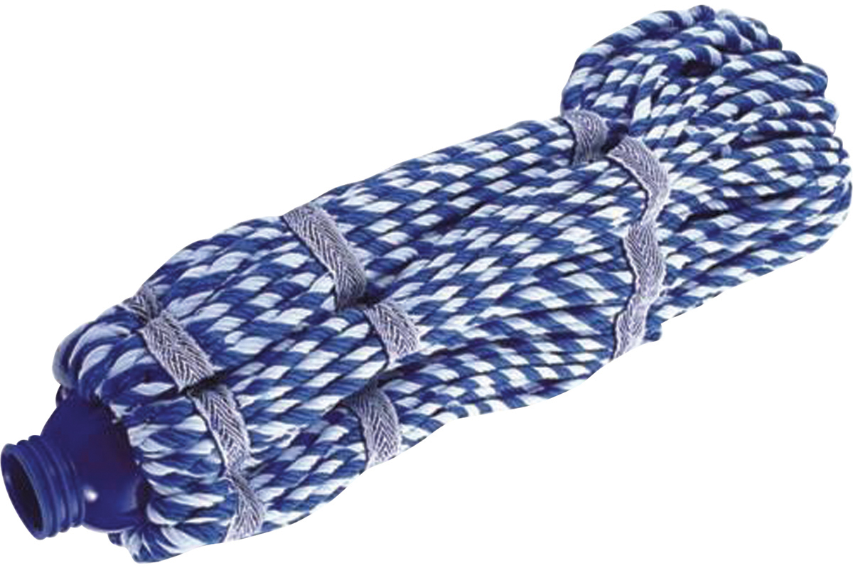 Насадка для швабры Лайма Моп, веревочная, цвет: синий, 33 см