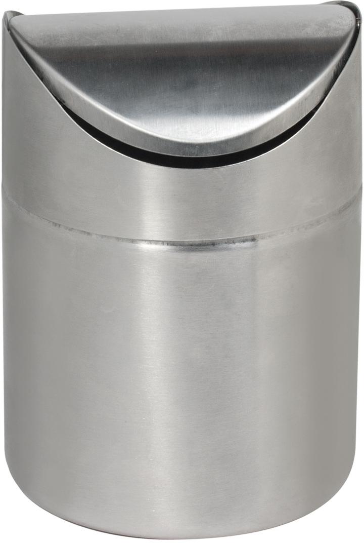 Урна для мусора  Лайма , настольная, с крышкой, цвет: серебристый, 1,2 л -  Инвентарь для уборки