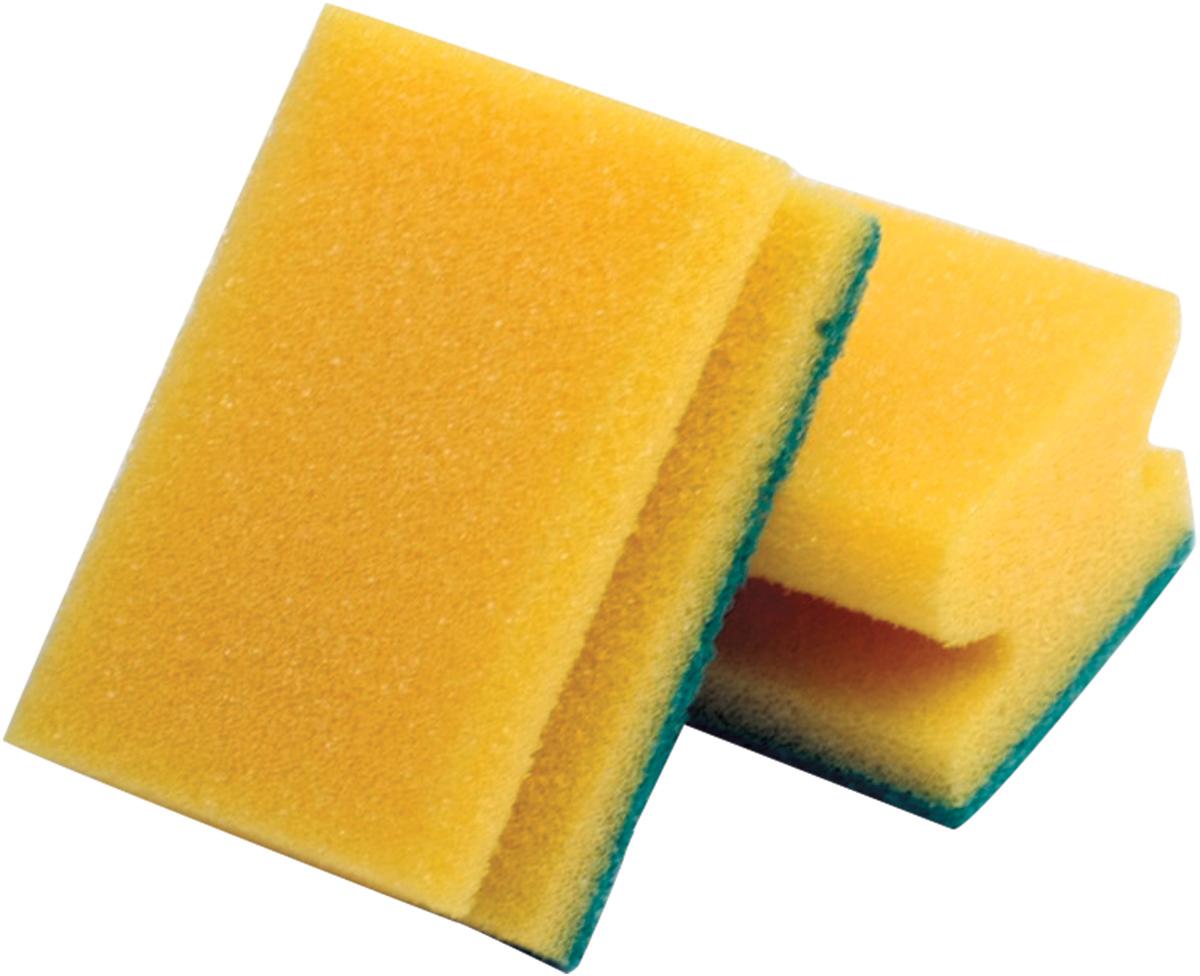 Набор губок Лайма, с чистящим слоем, профильные, цвет: желтый, 4,2 х 9,6 х 6,4 см, 2 шт губка для мытья посуды фозет мини соты 2 шт