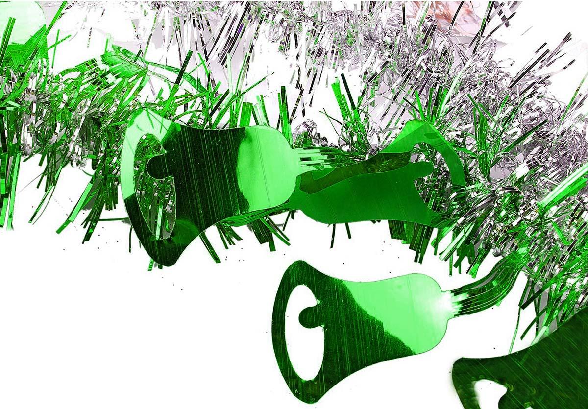 Мишура новогодняя Sima-land, цвет: зеленый, серебристый, диаметр 2 см, длина 200 см. 706455 мишура новогодняя sima land цвет серебристый желтый диаметр 4 см длина 200 см 702624