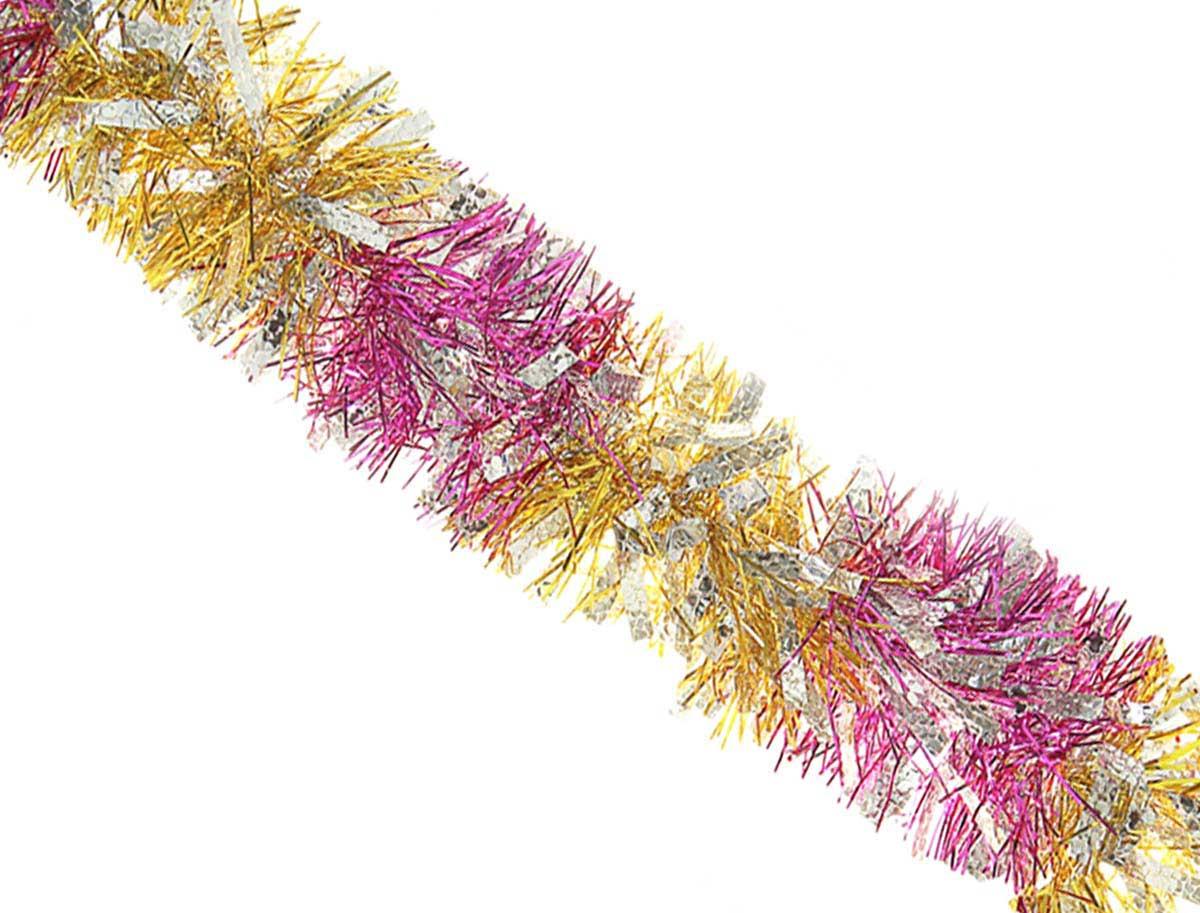 """Мишура новогодняя """"Sima-land"""", цвет: малиновый, серебристый, диаметр 9 см, длина 200 см. 452424"""