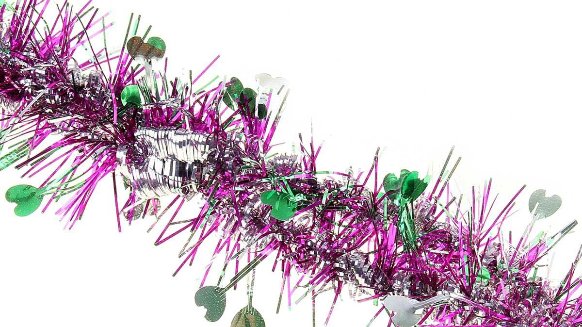 Мишура новогодняя Sima-land, цвет: малиновый, диаметр 5 см, длина 2 м. 702627