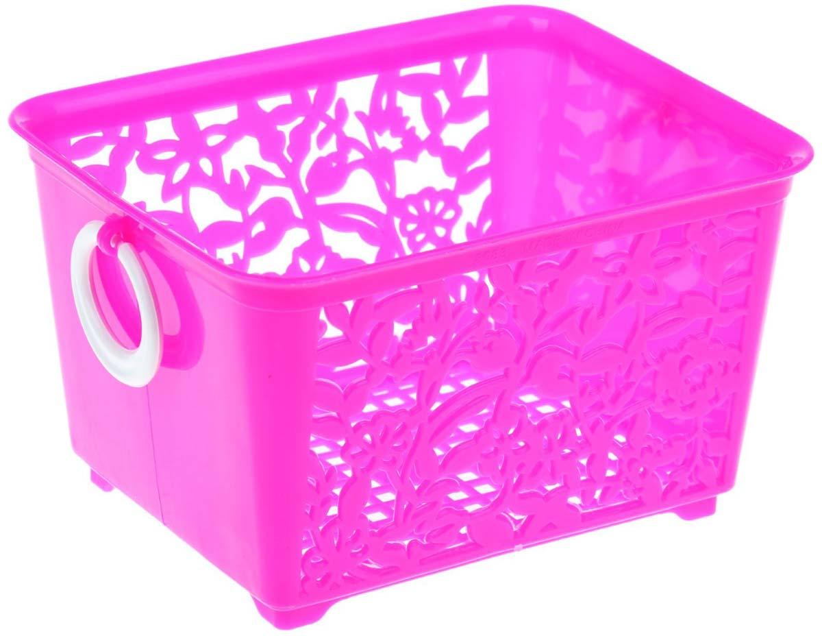 Корзина для мелочей Sima-land, цвет: розовый, 14 х 11,5 х 8,5 см184975-розовыйКорзина для мелочей Sima-land. Специально создана, чтобы ваши любимые вещи были в нужном месте и всегда под рукой.