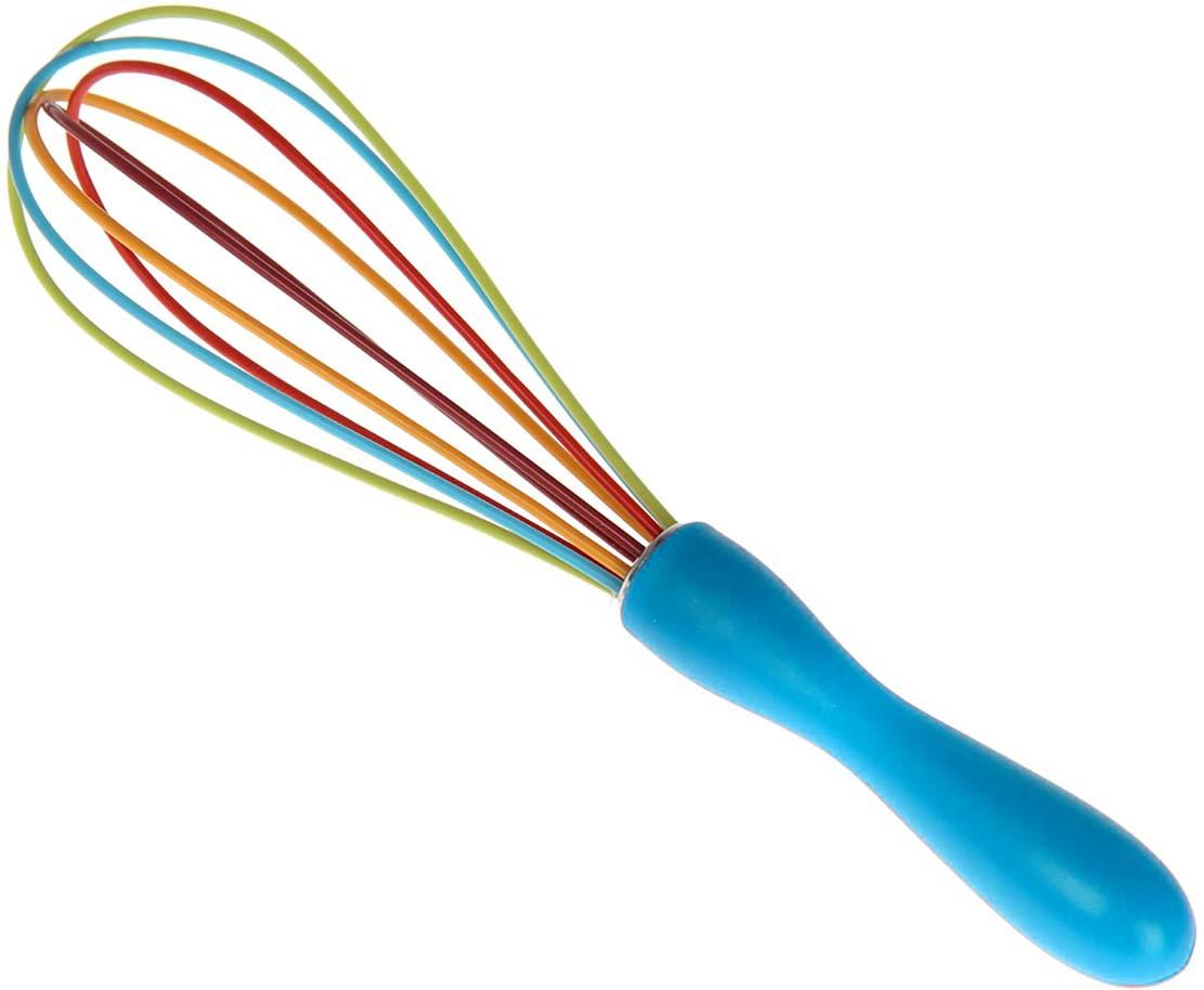 Венчик Доляна Профи, цвет: голубой, оранжевый, салатовый, длина 25 см венчик tefal talent цвет металлик черный длина 25 см