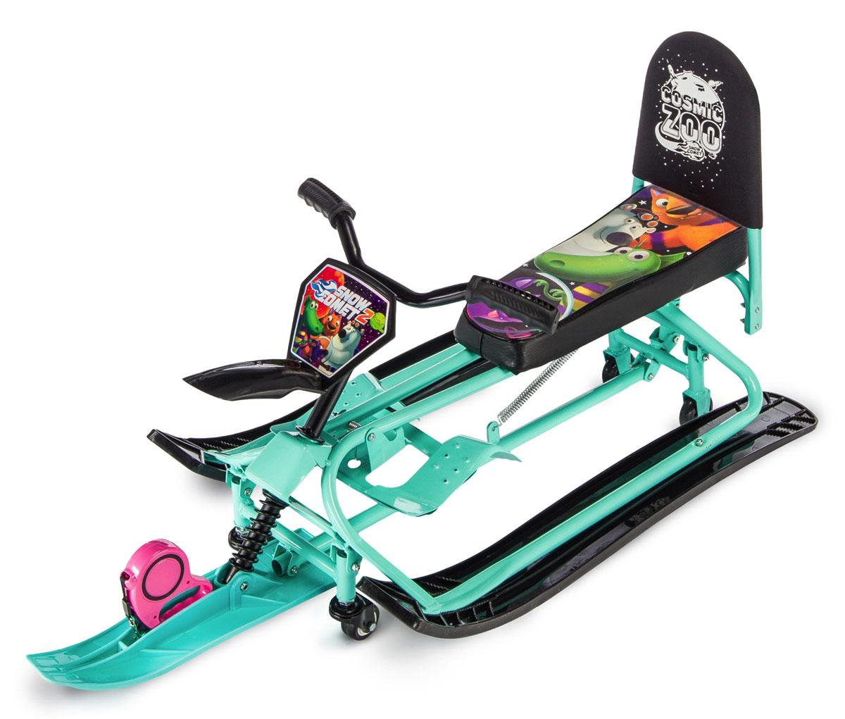 Снегокат-трансформер Small Rider Snow Comet 2, с колесами и спинкой, цвет: аква тюбинг small rider snow cars 3 bm blue 1387733