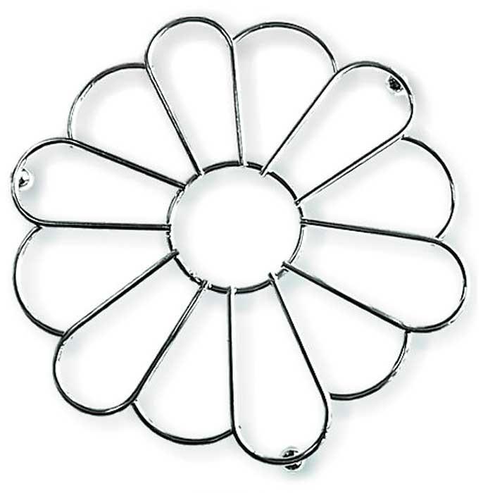 Подставка под горячее Мультидом Ромашка, диаметр 20 смAN52-72Используется для защиты поверхности стола, скатерти, клеенки и др. от повреждений.Изготовлена из стальной хромированной проволоки. Диаметр 20 см.
