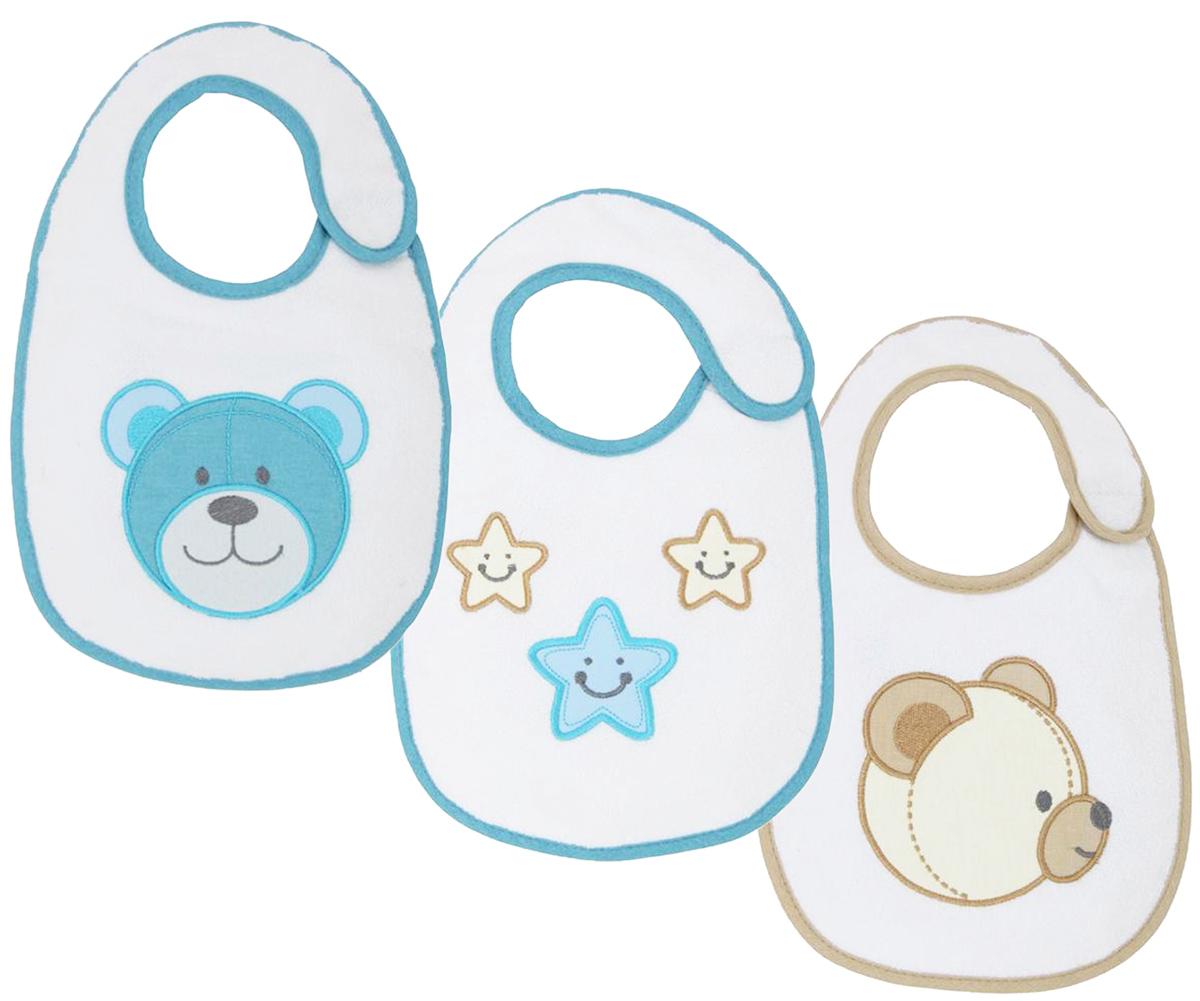 Polini Набор нагрудников для кормления Плюшевые мишки цвет голубой 3 шт стульчики для кормления polini 460