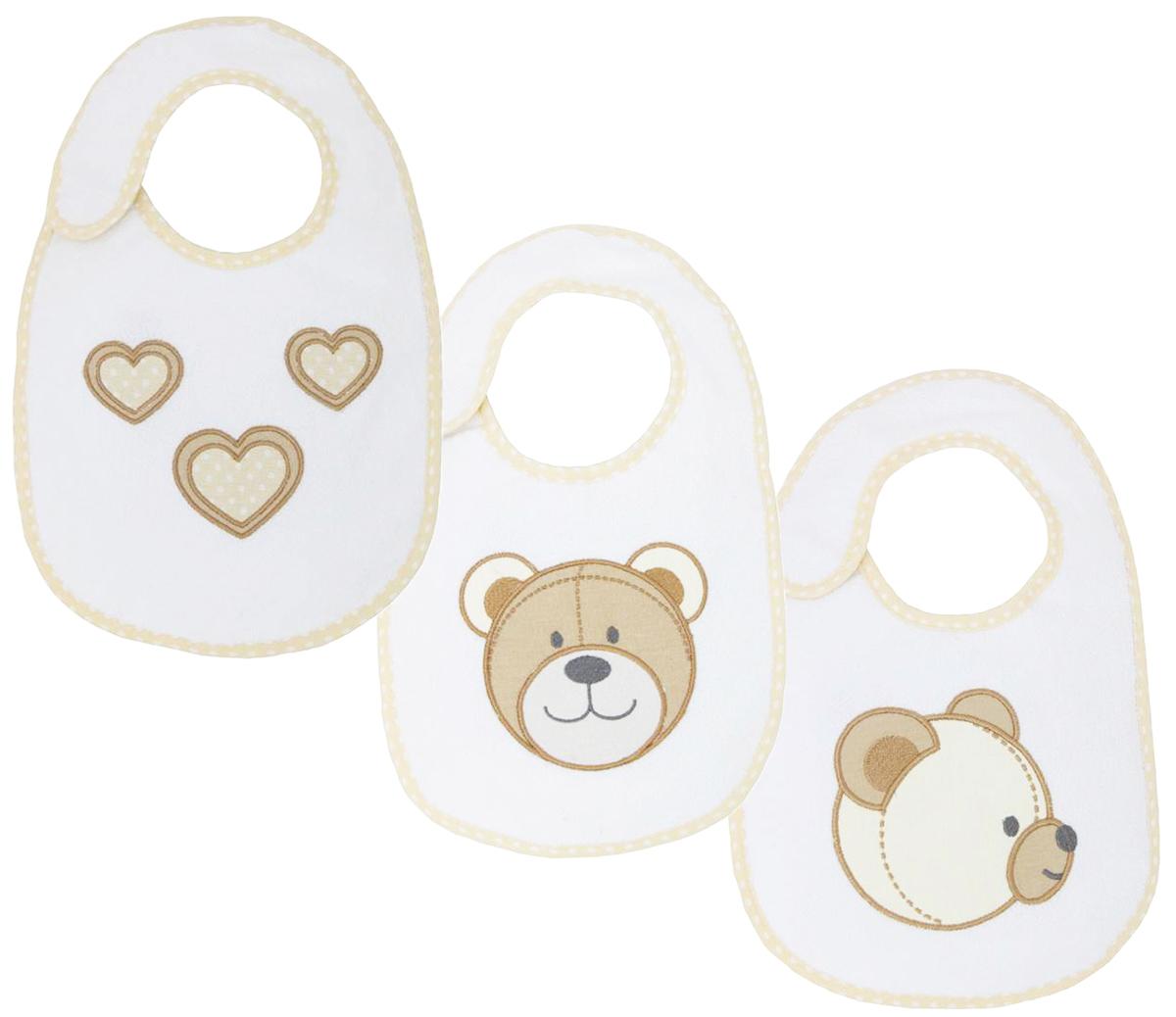 Polini Набор нагрудников для кормления Плюшевые мишки цвет кофейный молочный 3 шт стульчики для кормления polini 460