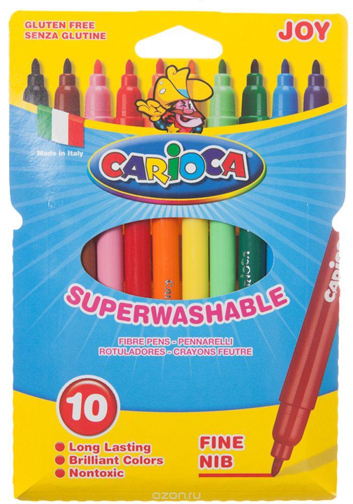 Набор Carioca Joy состоит из 10 разноцветных фломастеров, которые отлично подойдут и для школьных занятий, и просто для рисования.  Фломастеры рисуют яркими насыщенными цветами. Чернила на водной основе легко смываются с кожи и отстирываются с большинства тканей. Корпус фломастеров изготовлен из полипропилена, а колпачок имеет специальные прорези, что обеспечивает вентилирование и еще больше увеличивает срок службы чернил и предотвращает их преждевременное высыхание. Характеристики: Длина фломастера: 14 см. Размер упаковки:  12 см х 18 см х 1 см.