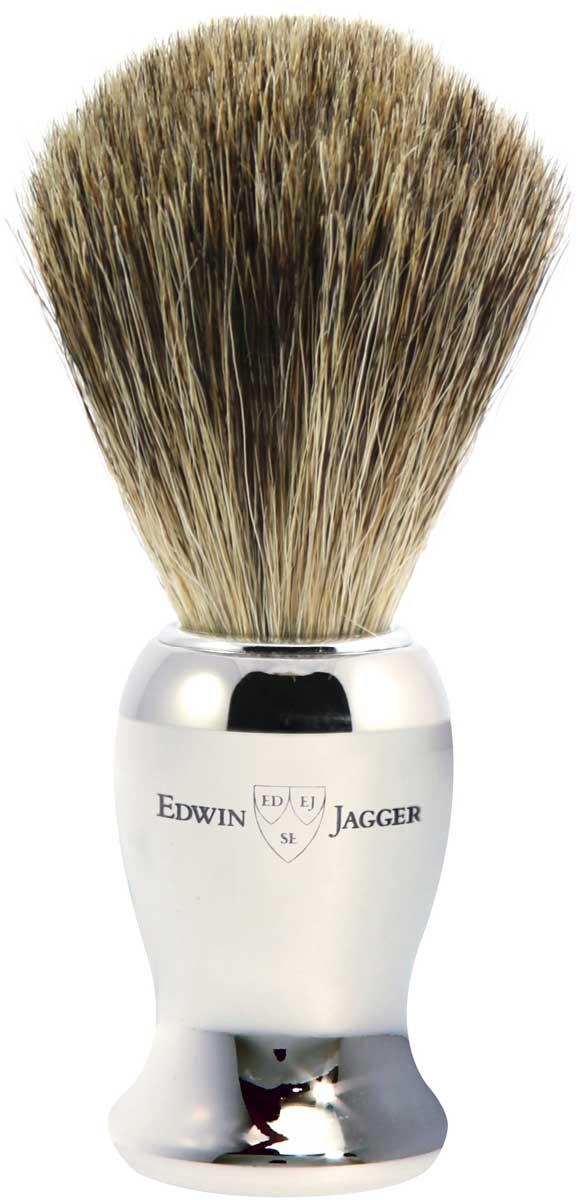 Edwin Jagger Помазок, барсучий ворс, цвет: хром. 81SB719CR edwin jagger бальзам после бритья limes