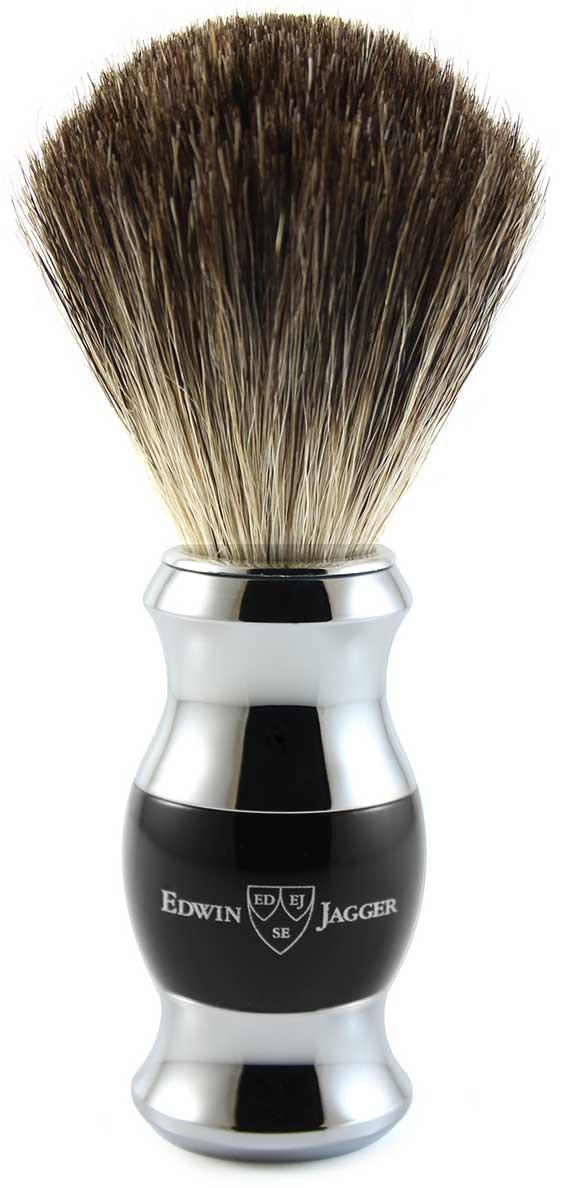 Edwin Jagger Помазок, барсучий ворс, цвет: черная смола. 81SB356CR