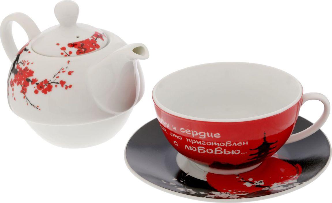Набор чайный Sima-land С любовью: чайник 350 мл, кружка 200 мл, блюдце 15 см. 15521311552131Этот чудесный чайный набор станет прекрасным подарком для близкого человека. Изделия выполнены из керамики, что придаёт им ряд особенных свойств. Напиток, приготовленный в таком сосуде, обладает неповторимым вкусом. Чайник дольше сохраняет содержимое горячим. Керамика долго служит, даже после многих лет использования изделие выглядит как новое. Набор удобно хранить. Благодаря уникальной форме чайник помещается в чашку, занимая минимум места в шкафу. Авторский дизайн и оригинальная упаковка делают комплект приятным и практичным подарком на любой праздник. Хорошие слова и душевные картинки создадут ощущение тепла и уюта в любом месте. Можно мыть в посудомоечной машине.