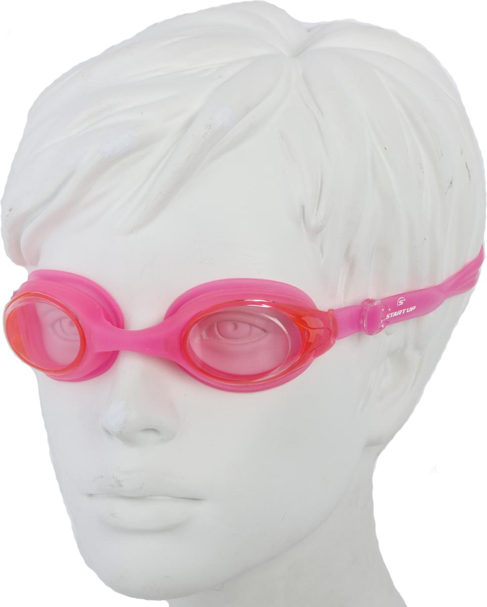 Очки для плавания Start Up, цвет: розовый. G1211239487Очки для плавания Start Up рекомендованы для начинающих и тренирующихся спортсменов.Особенности: -антизапотевающее покрытие: Antifog; -защита от ультрафиолета: UV Protection; -линзы: поликарбонат; -оправа: силикон; -ремешок: силикон; -переносица: нерегулируемая.
