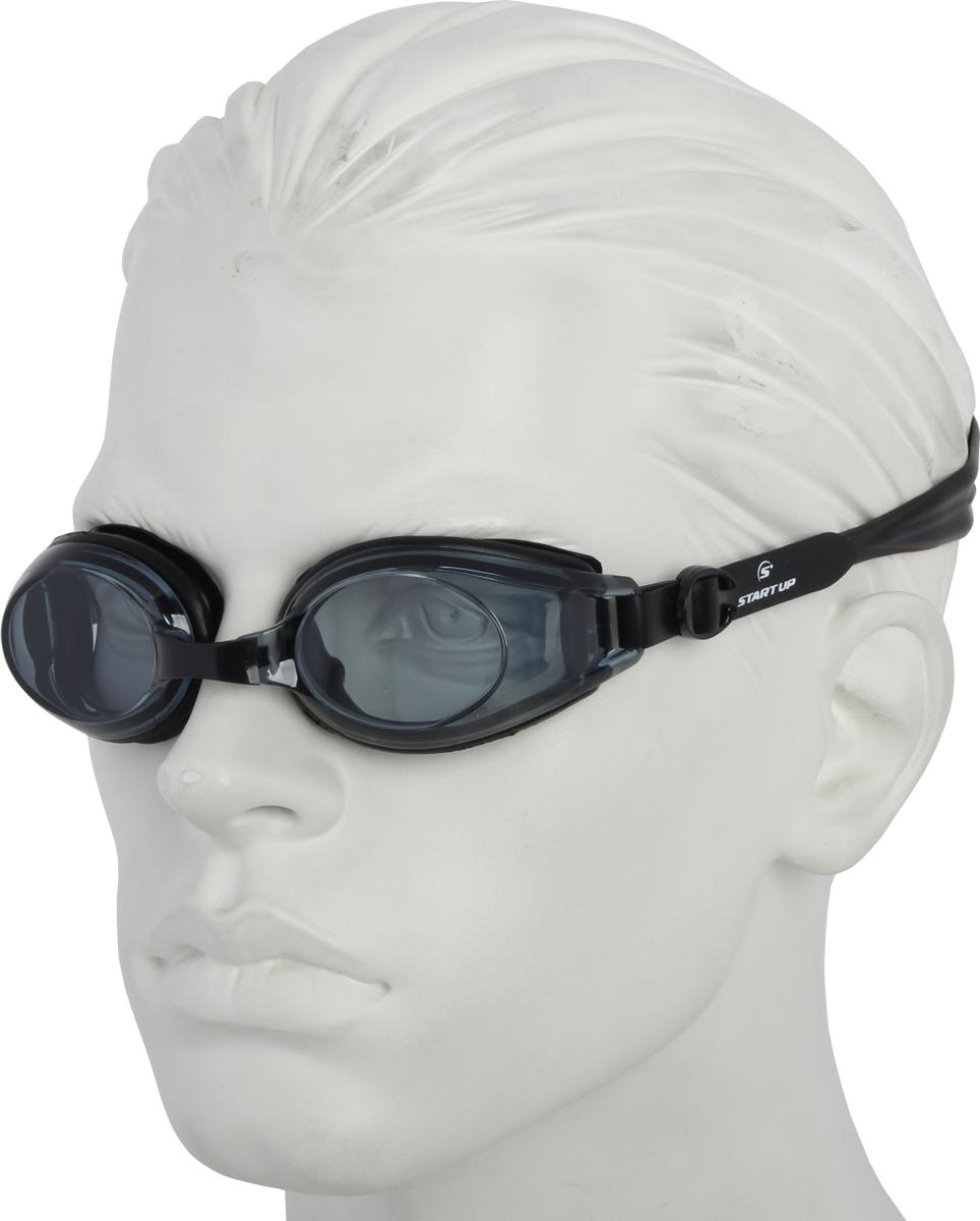 Очки для плавания Start Up, цвет: черный. G3800239489В комплекте: две сменные переносицы разного размера + беруши. Антизапотевающее покрытие: Antifog. Защита от ультрафиолета: UV Protection. Линзы: поликарбонат. Оправа: силикон. Ремешок: силикон. Переносица: регулируемая. Рекомендованы: для начинающих и тренирующихся спортсменов.