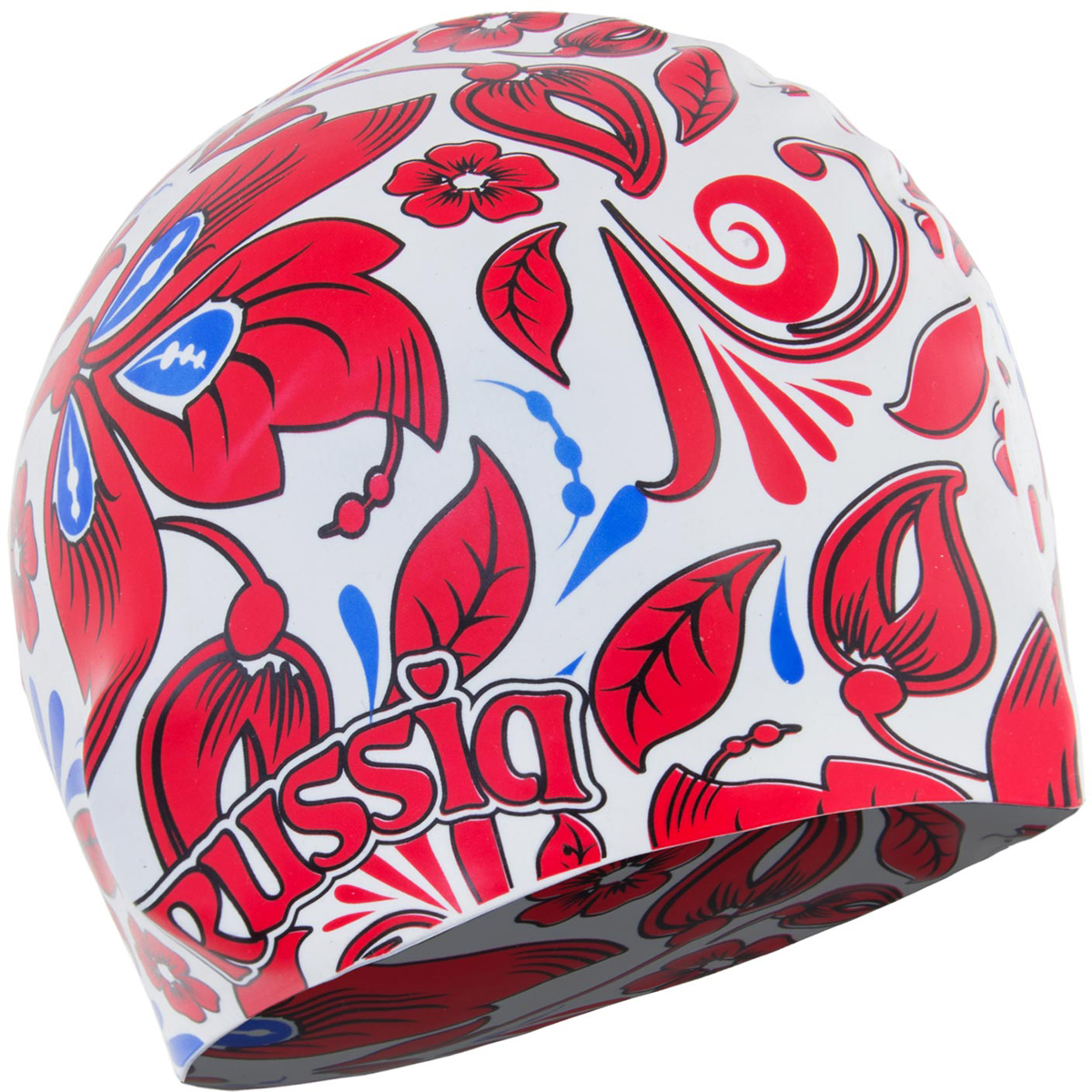 Шапочка для плавания Larsen, цвет: белый, красный. LS76333648Материал: силикон Размеры: 22 х 19 см (взрослый).