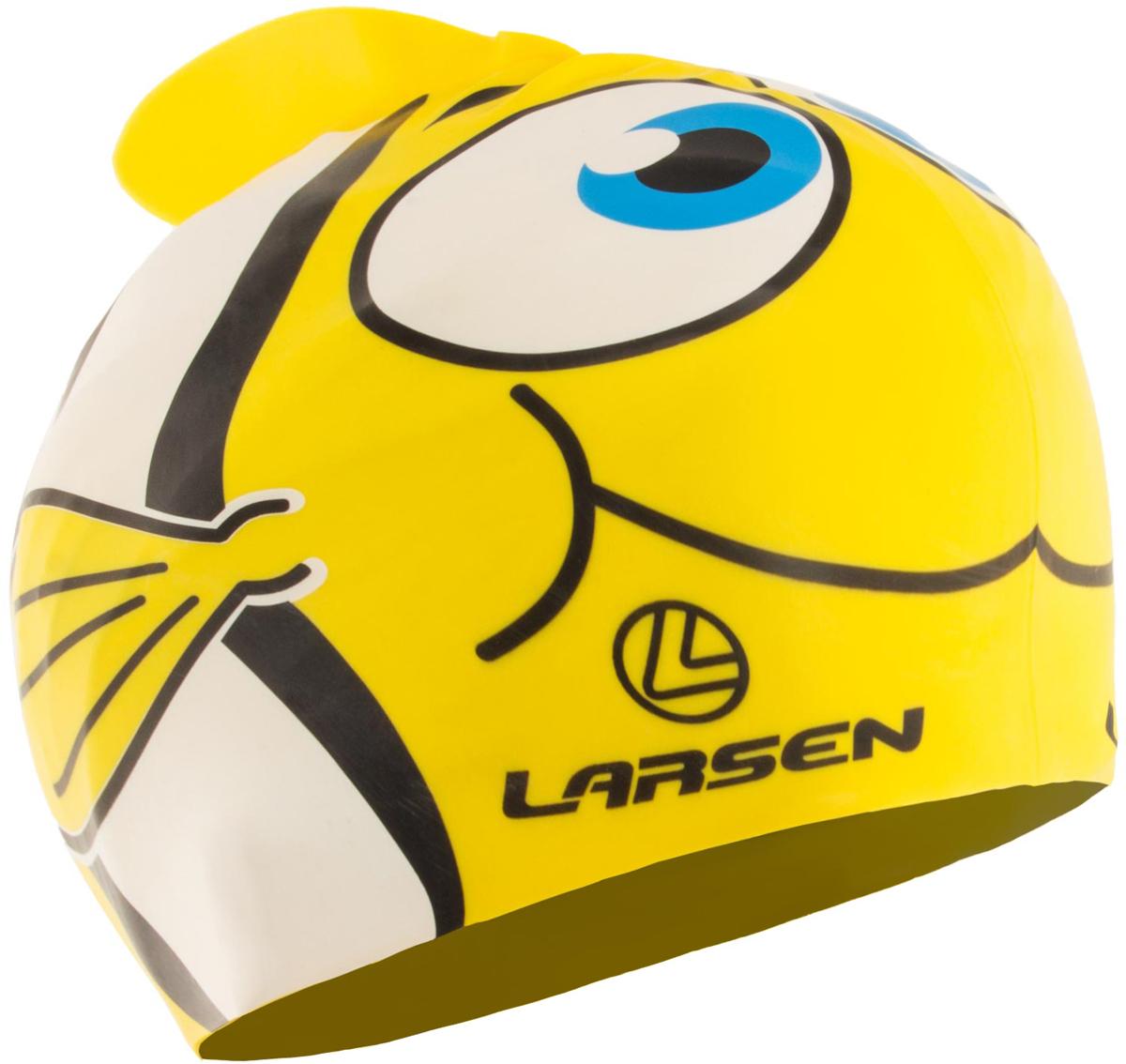 Шапочка для плавания детская Larsen Рыбка, цвет: желтый. LSC10203574Детская шапочка для плавания Larsen Рыбка выполнена из высококачественного силикона. Она плотно облегает голову, обеспечивая комфортную и надежную посадку. Размер: 21 х 17,5 см.