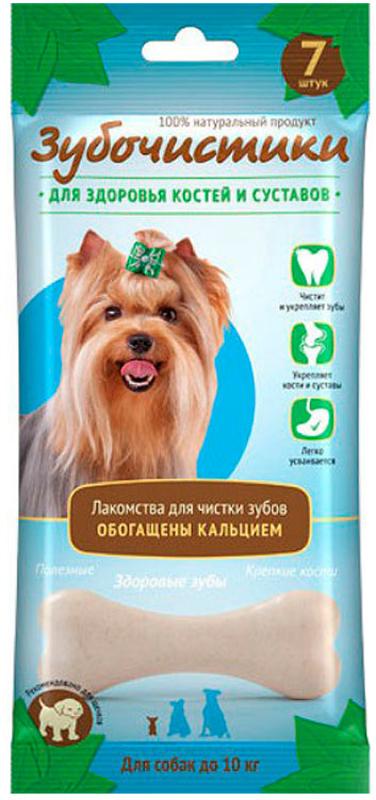 Лакомство Зубочистики для собак мелких пород, для здоровья костей и суставов, 7 шт57196Лакомство Зубочистики - это мультифункциональные лакомства для собак мелких пород, обладающие полезными для здоровья свойствами. Эти жевательные лакомства останавливают развитие кариеса и воспаления десен, отбеливают зубы и освежают дыхание. Благодаря наличию кальция Зубочистики укрепляют кости и зубы, поддерживают здоровье сердечно-сосудистой системы, являются незаменимым угощением для щенков всех пород в период активного роста. К тому же, собакам нравится их вкус.Состав: пшеничный протеин, белок молочной сыворотки, эмульгированные жиры, лактоза, карбонат кальция, казеинат натрия, эфирные масла, глицерин, натуральные вкусовые добавки (молоко).Гарантированные показатели: белок 51,31%, влага 13%, зола 6,77%, жиры 6,53%, кальций 2,4%, клетчатка 0,49%.Рекомендация по применению: для собак до 10 кг - 1 лакомство в день.Товар сертифицирован.Тайная жизнь домашних животных: чем занять собаку, пока вы на работе. Статья OZON Гид