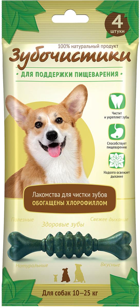 Лакомство Зубочистики Мятные для собак средних пород, для поддержания пищеварения, 4 шт лакомство зубочистики для собак мелких пород с курицей 2 шт