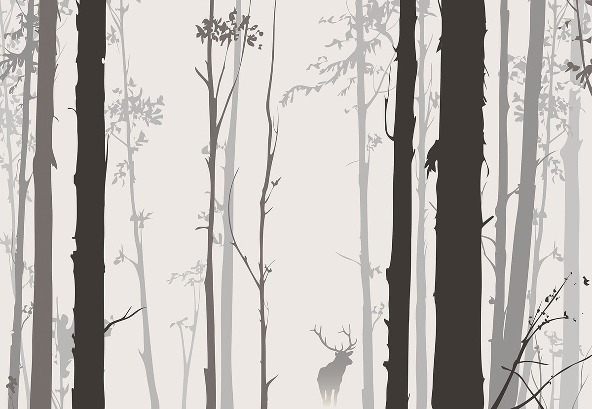 Фотообои PosterMarket Туманный Лес, 368 x 254 смWM-44NWКрасивыйпейзаж: туманный лес, листья, олень. Таинственная и волнующая картина.