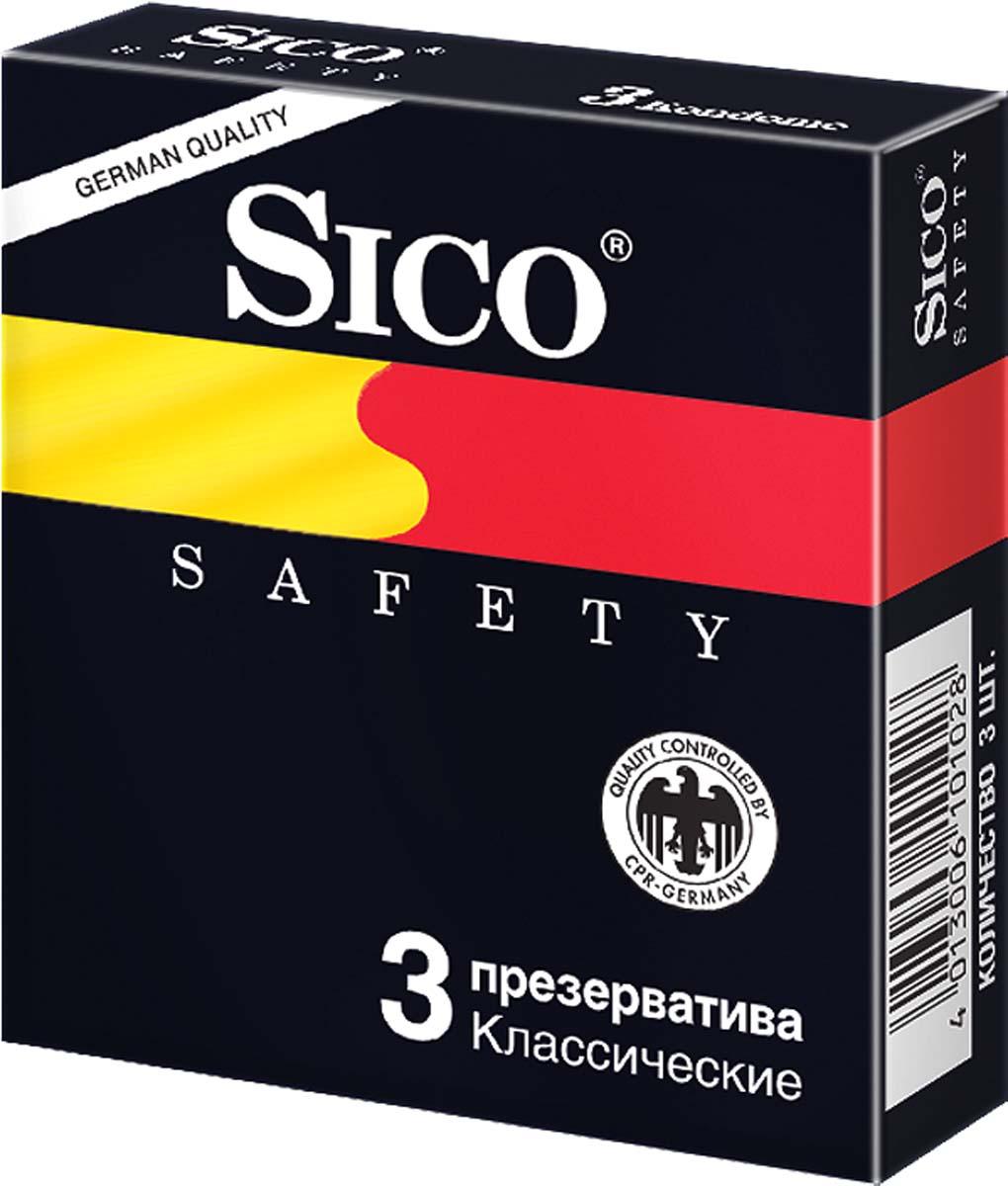 SICO Презервативы Safety, классические, 3 шт bdsm арсенал стек черный с шлепком в форме сердца